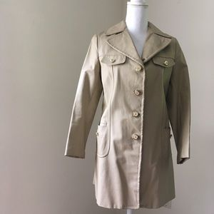 Vintage tan mid-length leather trench coat